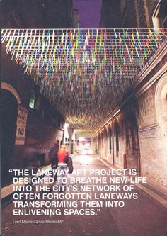 Week I think this relates to arts advocacy because I believe public art… Street Installation, Light Installation, Urban Movies, Reggio Emilia Approach, Instalation Art, Airport Design, Urban Intervention, Urban Furniture, Canopies