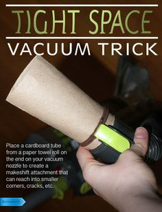 Vacuum into tight places with ease by working this simple trick. #SaveMoney #DIYHome #HouseholdTips #CleanEasier #VacuumTrick