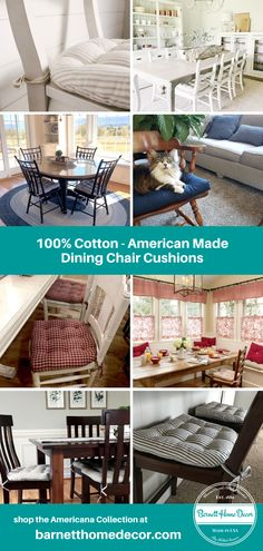 Shop the Americana Collection at barnetthomedecor.com for Dining Chair Cushions, Made in USA with American-made 100% Cotton fabric & American-made 100% latex foam fill. Our Dining Chair Pads are hand-crafted by skilled sewers at our Woman-Owned, Family Operated company located in Macon, Georgia, USA. Makeover your dining room with new chair pads in your choice of ticking stripes, solid colors, checks and other classic patterns. Our kitchen chair cushions are machine washable and reversible! Kitchen Chair Pads, Kitchen Chair Cushions, Dining Chair Cushions, Kitchen Chairs, Outdoor Fabric, Outdoor Sofa, Outdoor Furniture, Outdoor Decor, Macon Georgia