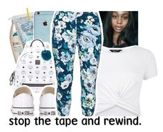 """Stop The Tape And Rewind"" by chynelledreamz ❤ liked on Polyvore featuring Jergens, MCM, Converse, Adrienne Landau, New Look and Rimini"