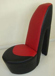 Stiletto Shoe Chair  http://www.ebay.co.uk/itm/BLACK-RED-SHOE-HIGH-HEEL-STILETTO-CHAIR-/250889493274?pt=UK_Home_Garden_LivingRoom_RockingChairs_SR=item3a6a2ddb1a