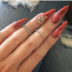 Creative Nail Art Trends That You Will Love. Creative Nail Art Trends That You Will Love. Creative Nail Art Trends That You Will Love. Pointed Nail Designs, Nail Art Designs, Chrome Nails Designs, Red Chrome Nails, Matte Nails, Stiletto Nails, Burgundy Nails, Blue Nails, Gold Nails
