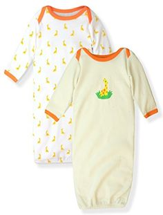 Maybe Baby Infant Boys and Girls 2 Pack Printed Gowns Elephant Giraffe 06 Months