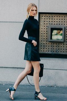 Black turtle neck & leather high wasted skirt