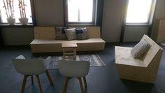 Strakke bank van underlayment / constructieplaat | loungebank | Scandinavisch wonen | VanStoerHout