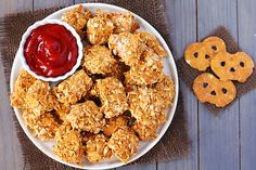 Pretzel-Crusted Chicken Nuggets {Gimme Some Oven}