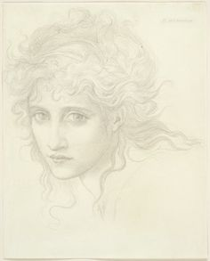 "Edward Burne-Jones, Head of a Young Woman (Study for ""The Hesperides""?), 1870 