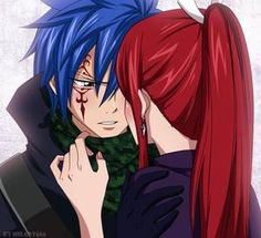 Jellal Fernandes and Erza Scarlet (Jerza) from Fairy Tail. One of my favorite pics of them. Fairy Tail Erza Scarlet, Fairy Tail Lucy, Fairy Tail Jellal, Fairy Tail Amour, Fairy Tail Ships, Fairy Tail Anime, Nalu, Jerza, Fairytail