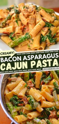 Prepare to dive into this creamy, dreamy goodness is out of this world! Loaded with bacon, asparagus, garlic, spinach, and a Cajun Parmesan sauce, this pasta recipe is the perfect Mardi Gras food. Even picky kids will ask for seconds! Put it on your dinner menu! Easy Pasta Recipes, Entree Recipes, Dinner Recipes, Cooking Recipes, Pizza Recipes, Noodle Recipes, Sweets Recipes, Turkey Recipes, Yummy Recipes