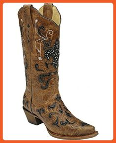 Corral Women's Fleur-De-Lis Sequin Inlay Cowgirl Boot Snip Toe Tan 8 M US - Boots for women (*Amazon Partner-Link)