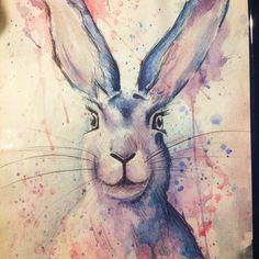 Colore di acqua lepre moderno dipinto coniglio di theBohemianTRIBE