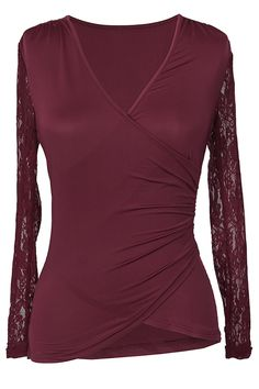 $19.99 Only with free shipping&easy return! This burgundy top is detailed with lace sleeve&cross v-neck! Look pretty in lace with this effortless fitted wine top!