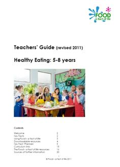 British Nutrition Foundation Teacher's Guide for healthy eating  5-7 years - Teachers Guide. This teacher's guide will help you plan a series of successful lessons exploring healthy eating for children aged 5-8 years.