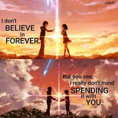 Anime: Kimi no na wa Sad Anime, Manga Anime, Anime Love, Kimi No Na Wa, Your Name Quotes, Life Truth Quotes, Your Name Anime, Anime Qoutes, Anime People
