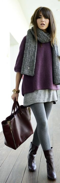 Lovely Pepa. knitted dress, violet sweater with scarf, layered, leggings #style #casual #winter