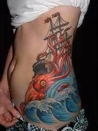 Giant Kraken Squid Attacking A Pirate Ship Tattoo