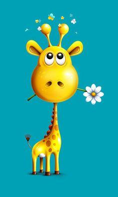 Love this sweet giraffe by Alexandre Efimov illustrations Giraffe Art, Cute Giraffe, Giraffe Drawing, Cartoon Giraffe, Giraffe Painting, Art Fantaisiste, Art Mignon, Cute Cartoon Wallpapers, Whimsical Art