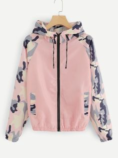 Camo Panel Zip Up Hooded Jacket | ROMWE