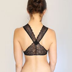 Black Lace Bralette. Scalloped Lace Back. Racer by TatianasThreads