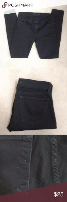 """J Brand Mid-Rise Black Skinny Jeans Worn but still have some life in them! These are a classic skinny in true black; inseam is 30"""" and leg opening is 10"""". Very flattering jeans - these go with everything. Pictures show some slight fading, and third picture shows some snags, which are not very visible when being worn. Tag says size 29, but these fit more like a 28. J Brand Jeans Skinny"""