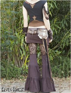 Lace Zumi Dance Pants in Brown Floral Lace by ElvenForest, Punk Outfits, Boho Outfits, Fashion Outfits, Boho Fashion, Girl Fashion, Fashion Design, Fashion Trends, Goa, Diy Clothes Design