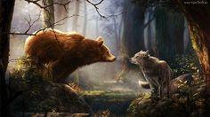 Wilk, Niedźwiedź, Las, Drzewa