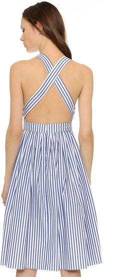 Preppy striped dress with a crisscross back
