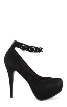 SugarPair Black Platform Pumps with Chain Ankle Strap and Zipper Back $21.90