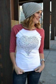 Heart Graphic Raglan Tee  | Valentine's Day Fashion on Jane