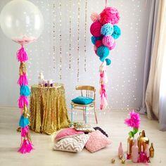 Pink gold balloons spring