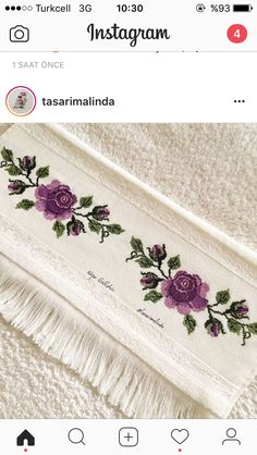 This Pin was discovered by Emi Instagram 4, Cross Stitch Flowers, Bead Art, Embroidery Patterns, Elsa, Diy And Crafts, Creative, Diana, Towel Set