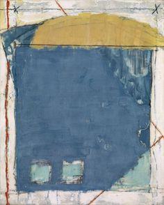 Marilyn Jonassen. Bluefield with Yellow, 2008, encaustic on clay board.  fetherston gallery, seattle.