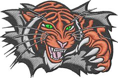 {Animal- Tiger Busting a Hole Trew Something PRO digitizing K.H.}  Free Embroidery DesignsFree Embroidery Designs