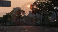 鹿児島市の風景|8月15日午前6時 朝日が登りだしたパース通りを4Kで Shot on iPhone
