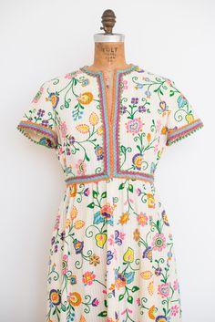 1960s Floral Print Cotton Maxi Dress - S/M