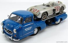 CMC M163 Scala 1/18 MERCEDES BENZ RACING CAR TRANSPORTER TRUCK RENNABTELLUNG 1955 + 300SLR SPIDER N 701 MILLE MIGLIA AFTER RACE 1955 K.KING BLUE
