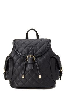 Quilted Faux Leather Backpack #Accessories #Backpack