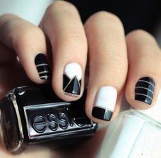 Essie black and white nail art Black And White Nail Designs, White Nail Art, White Nails, Black White, Black Nail, White Art, White Manicure, White Gold, Pretty Black
