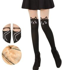 Kitty Fake Over Knee Thigh High Fleece Footless Tights SP153986