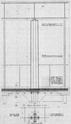 Detalle de pilar y cubierta. Nueva Galería Nacional, Mies van der Rohe, Berlín, 1968.
