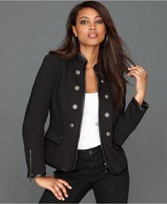 INC International Concepts Jacket, Faux-Leather-Trim Military - Jackets & Blazers - Women - Macy's