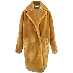 Paisie Faux Fur Teddy Coat, Caramel (10.575 RUB) ❤ liked on Polyvore featuring outerwear, coats, jackets, caramel coat, faux fur coats, imitation fur coats, fake fur coats and long sleeve coat