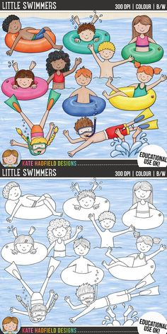 Swimming kids clip art for teachers! Contains coloured clipart + black and white outlines all at 300 dpi for highest quality printing for your teaching resources and projects! Hand-drawn clip art by Kate Hadfield Designs at Teachers Pay Teachers. Art Drawings For Kids, Drawing For Kids, Easy Drawings, Art For Kids, Projects For Kids, Art Projects, Summer Crafts For Toddlers, Little Swimmers, Hobbies For Kids