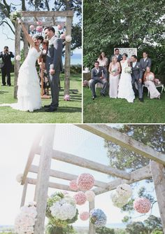 How cute is this canopy! Love the rose balls