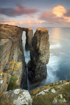Atardecer en la costa de Escocia.