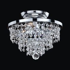 Glow Lighting�Vista 10-in W Silver Pearl Crystal Semi-Flush Mount Light 120.70