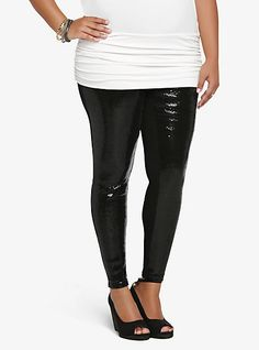 Plus Size Sequin-Front Leggings | Torrid