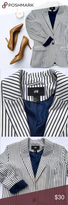 H&M Blazer This great white and navy striped blazer is perfect with a pencil skirt or a pair of skinny jeans. Worn only a few times - in great shape. H&M Jackets & Coats Blazers
