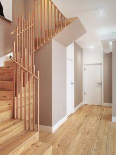 Projekt wnętrza klatki schodowej z ciekawą balustradą - Tissu. Eleganckie drewniane schody z oryginalną balustradą inspirowaną naturą. Naturalne barwy nadają ciepły klimat wnętrzu. http://www.tissu.com.pl/zdjecia/205