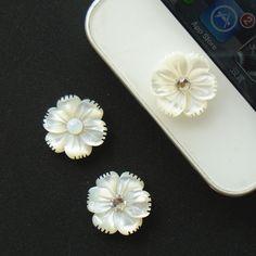 1 pcs Bling Rhinestone White MOP Shell Carving by FPhoenixStudio, $3.99